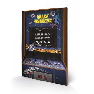"póster de madera space invaders ""arcade cabinet"" / 40 x 59 cm :: imagen 1"