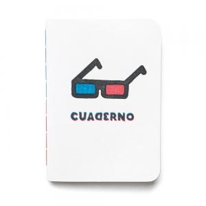 """cuaderno de tapa blanda (cosido visto) """"gafas 3d"""" hojas en blanco / blanco / 10 x 14 cm"""