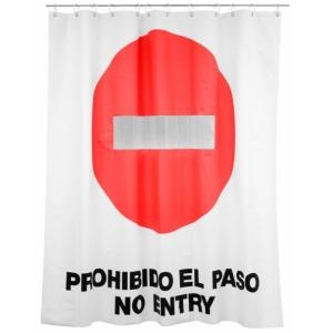 """cortina de baño """"prohibido el paso"""""""