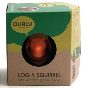 "maceta auto-regable ""log & squirrel"" / negro y blanco :: imagen 3"