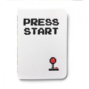 """cuaderno de tapa blanda (cosido visto) """"press start"""" hojas en blanco / blanco / 10 x 14 cm"""