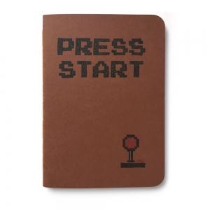 """cuaderno de tapa blanda (cosido visto) """"press start"""" hojas en blanco / marrón chocolate / 10 x 14 cm"""